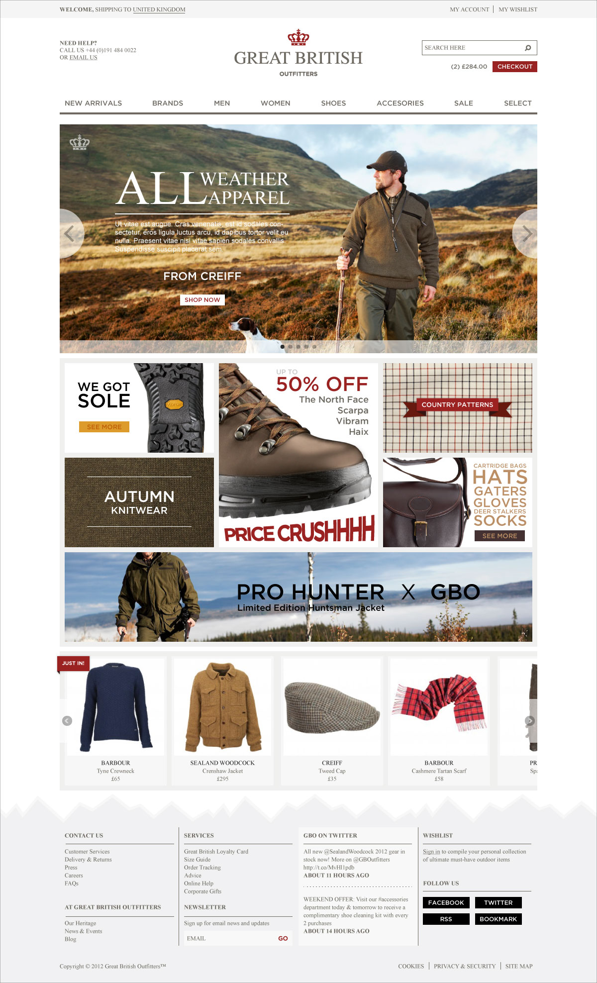 GB Outfitters Original Concept Web Design